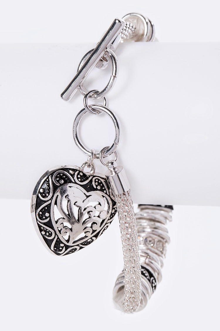 Engraved Puff Heart Toggle Bracelet