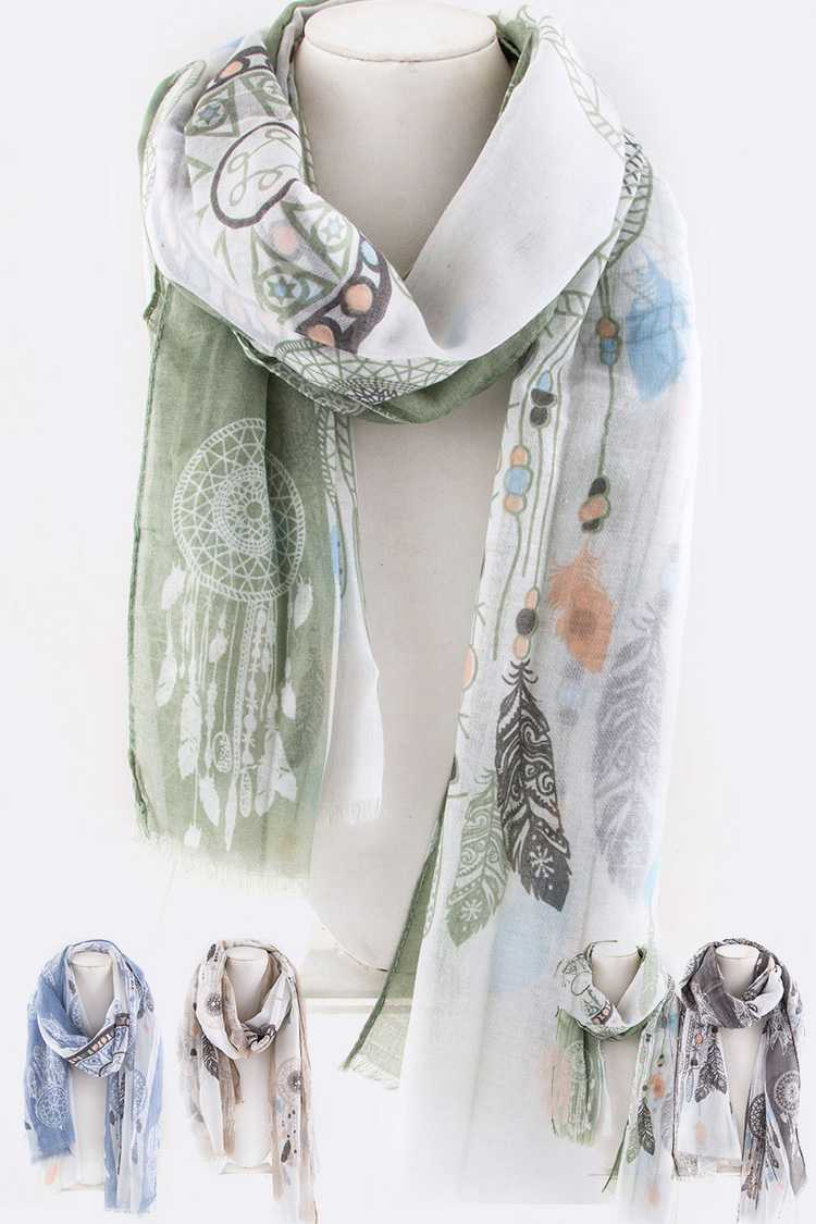 Dream Catcher Feather Boho Printed Scarf