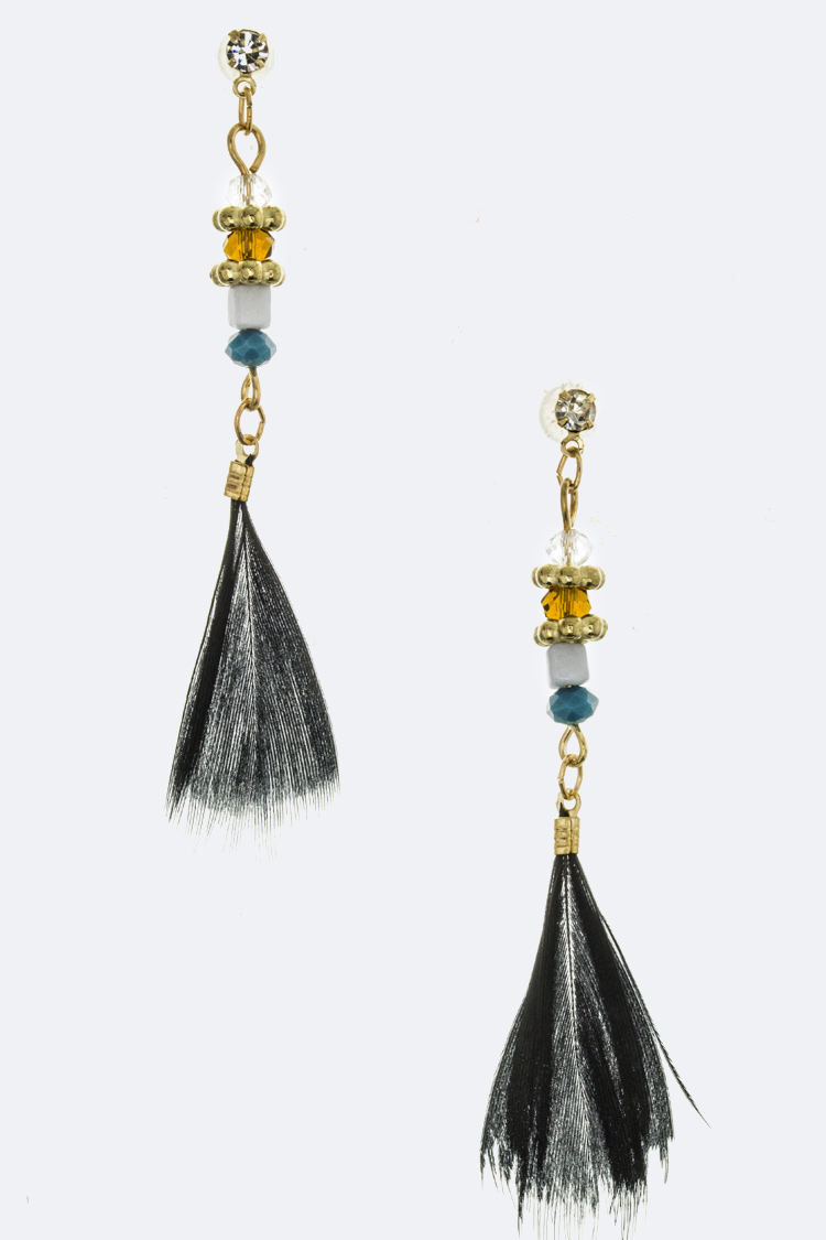 Mix Bead & Feather Earrings