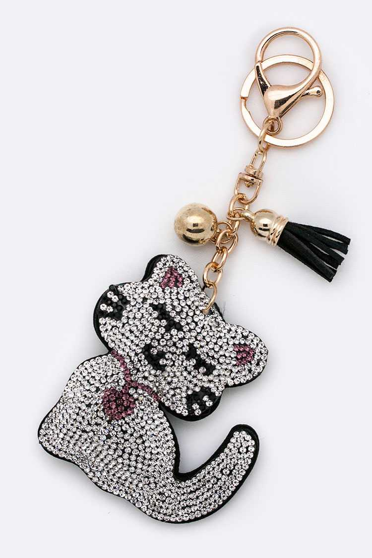 Crystal Kitty Key Charm
