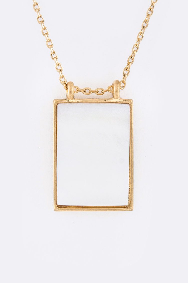 Square Pave Stone Pendant Necklace