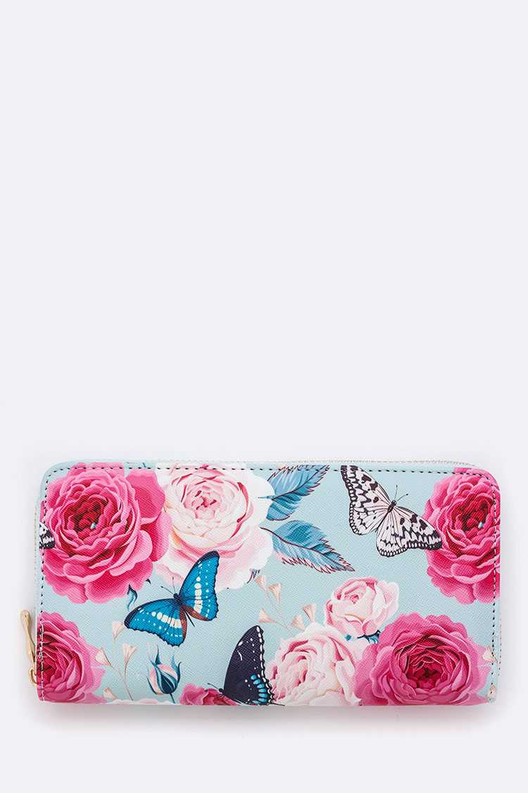 Butterfly & Flower Print Wallet