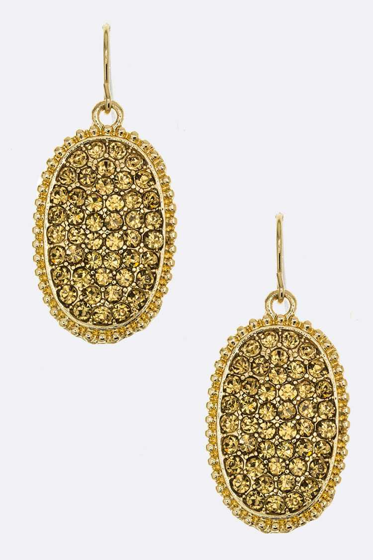Pave Crystal Oval Earrings