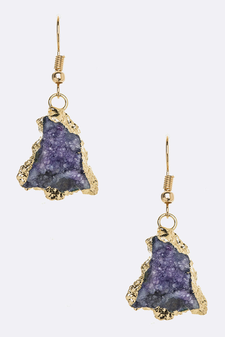 Druzy Drop Gold Paint Earrings