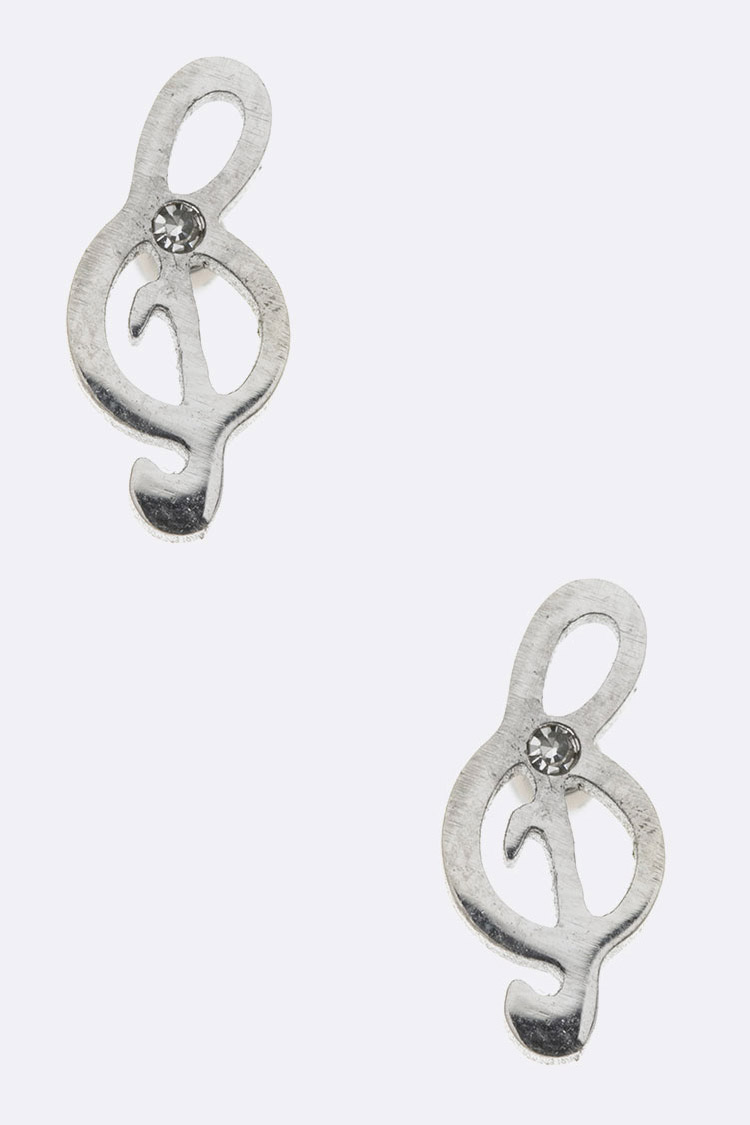 Stainless Steel Treble Clef Stud Earrings