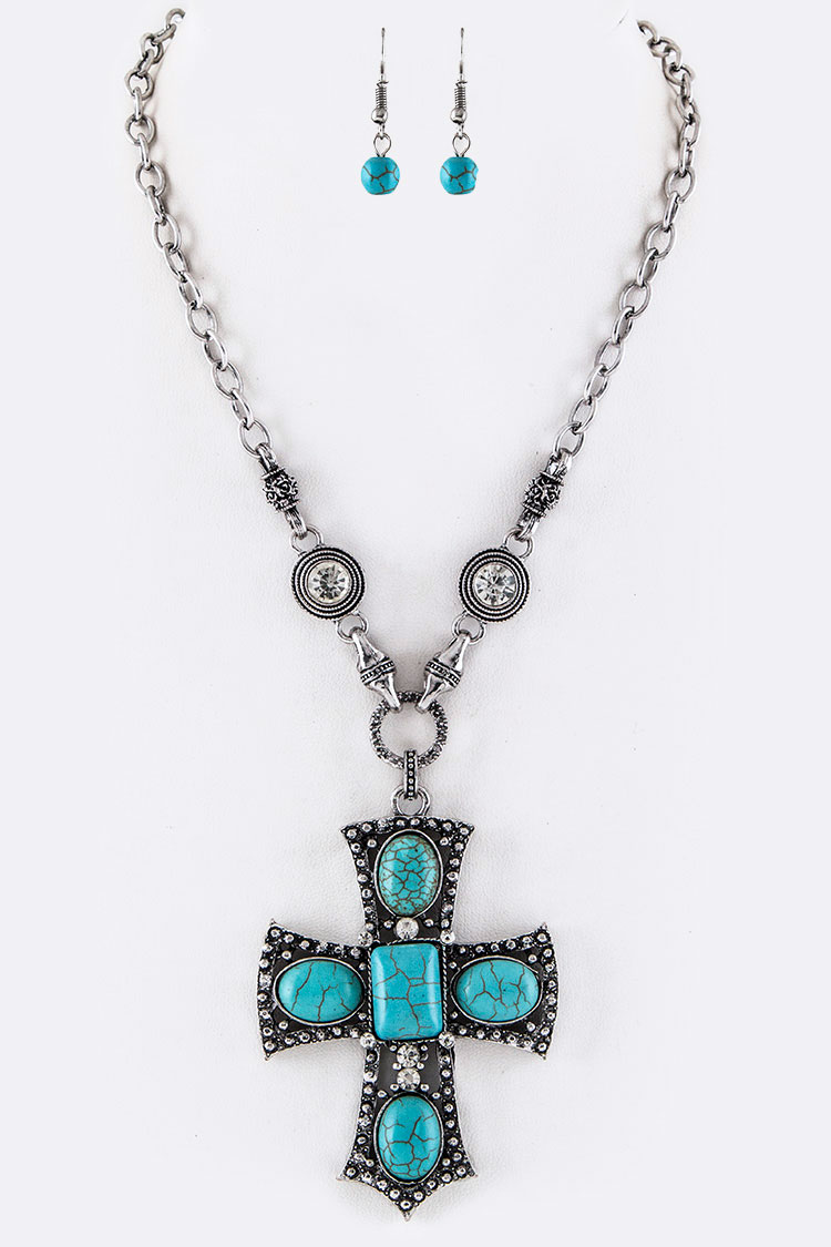 Turquoise Ornate Cross Pendant Necklace Set