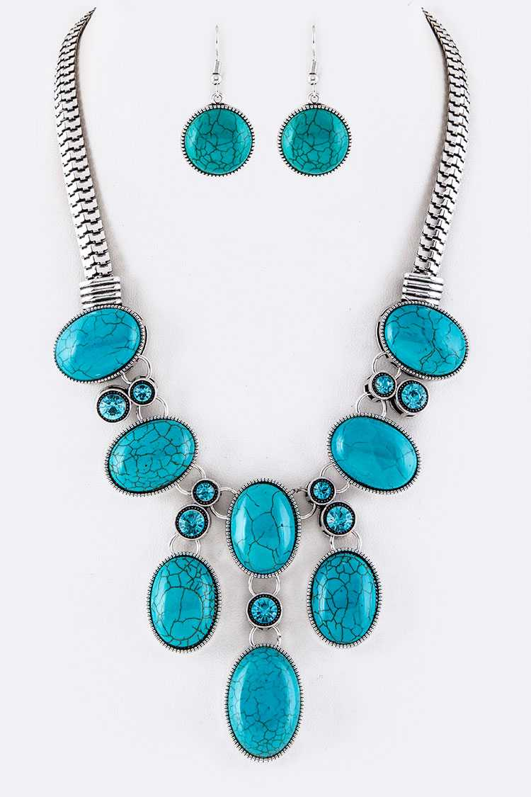 Crystal & Oval Turquoise Statement Necklace Set