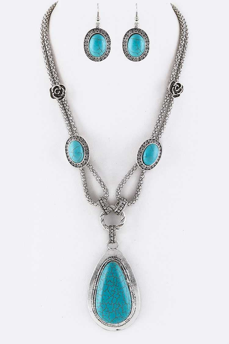 Turquoise Teardrop Pendant Necklace Set