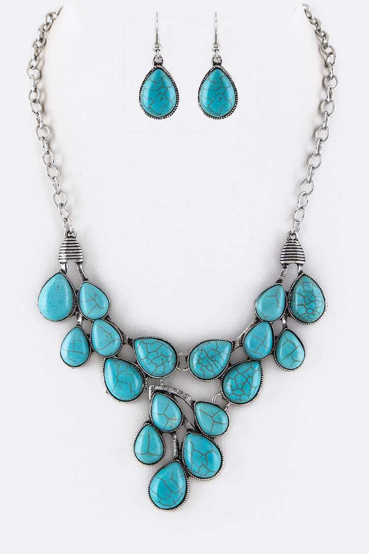 Turquoise Teardrops Statement Necklace Set