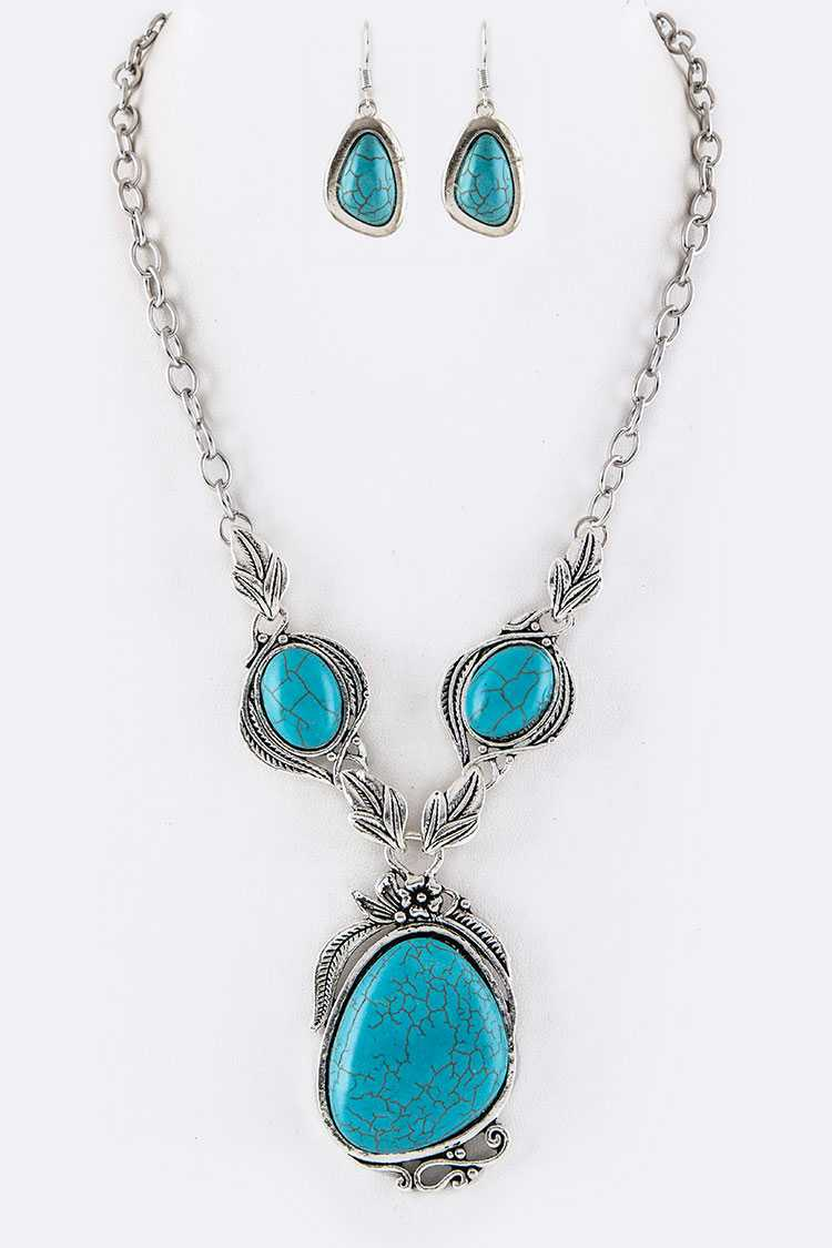 Pave Turquoise Flower Pendant Necklace Set