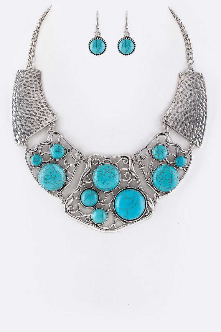 Pave Turquoise Filigree Plates Collar Necklace Set