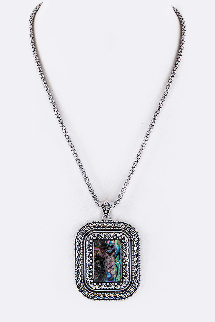 Pave Shell Filigree Square Pendant Necklace