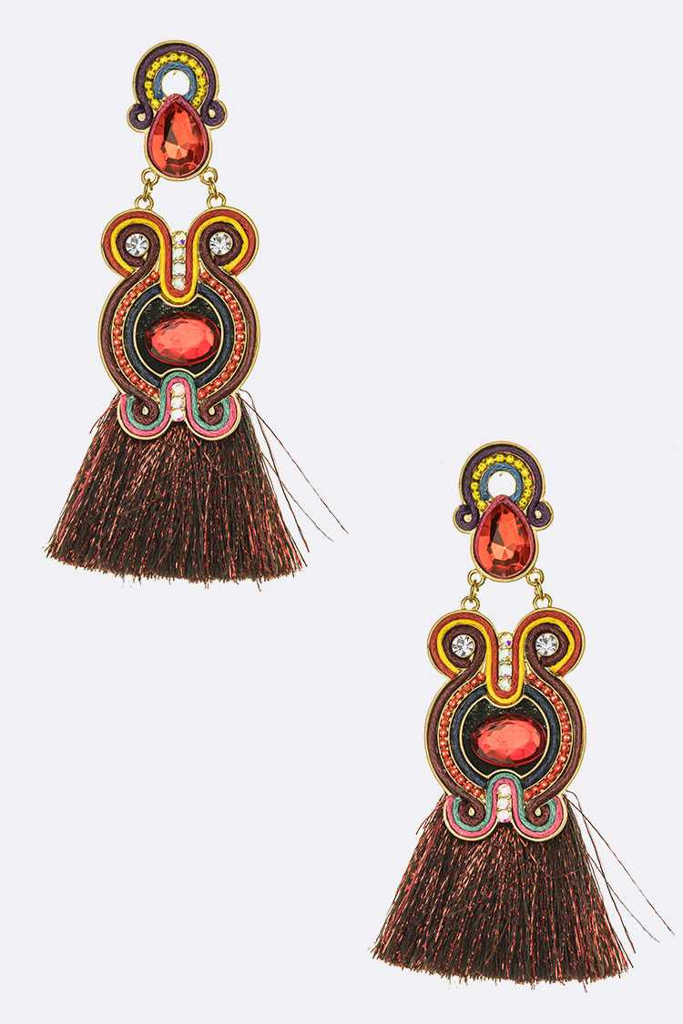 Metallic Tassel Bejeweled Statement Earrings