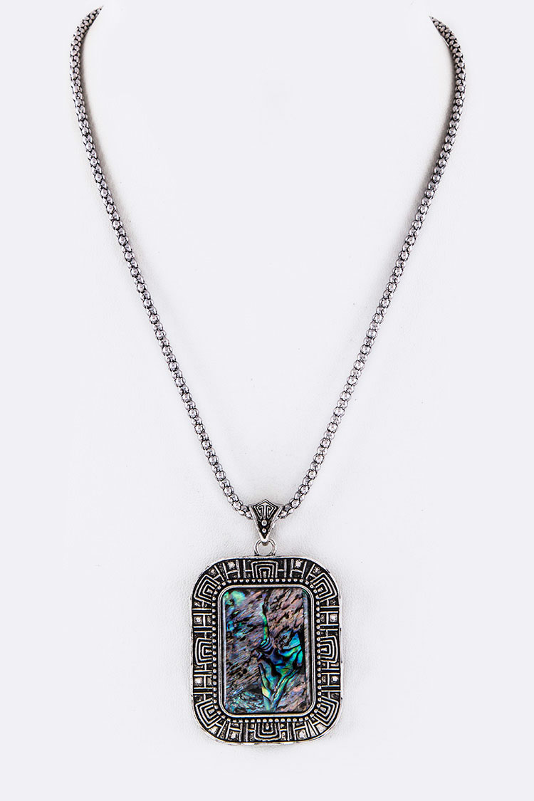Pave Shell Square Pendant Necklace