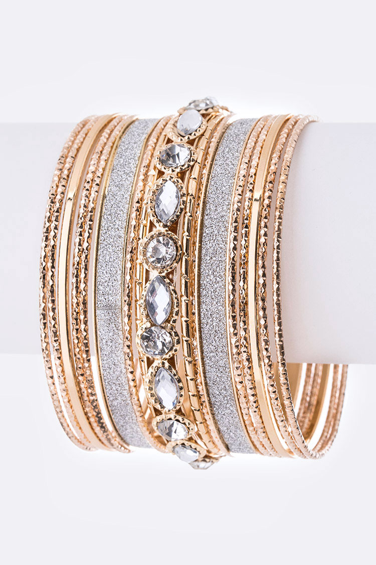 Crystal Glitter Mix Bangle Set