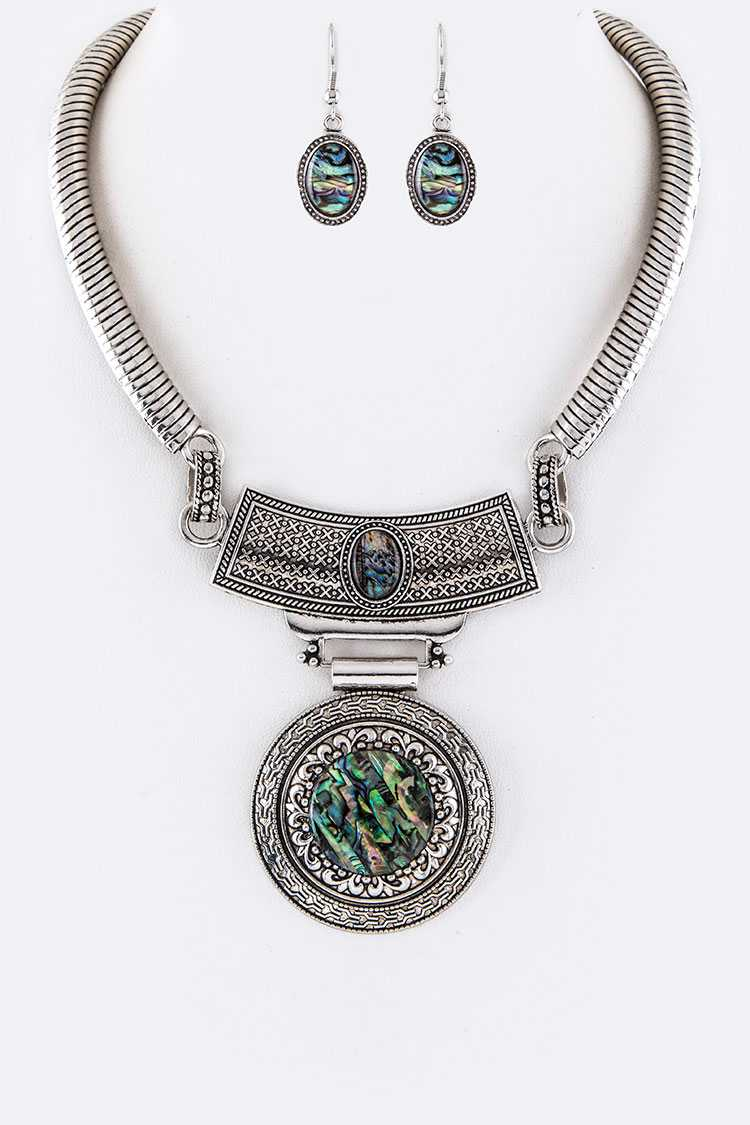 Abalone Iconic Collar Necklace Set