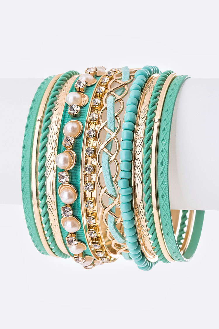 Pearl & Crystals Stacking Bangle Set