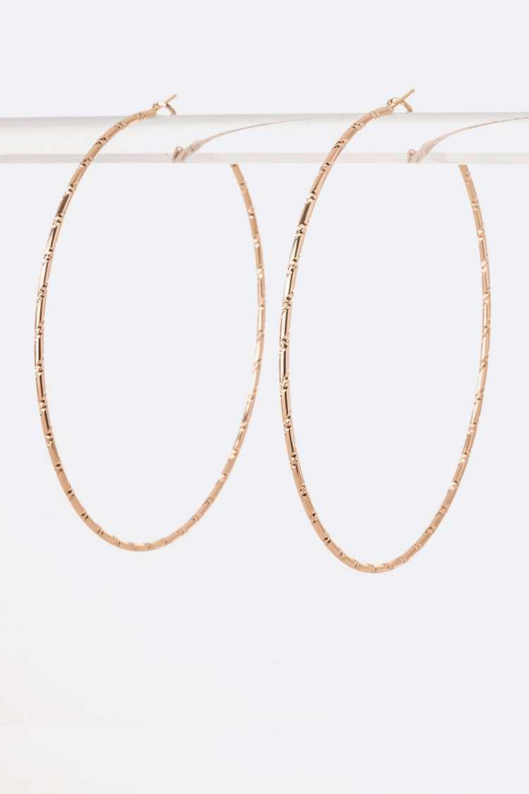 Edge Textured 90MM Dainty Hoop Earrings