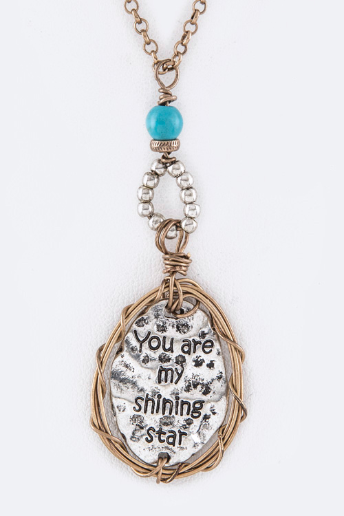 You Are My Shining Star Wired Disk Pendant Necklace Set