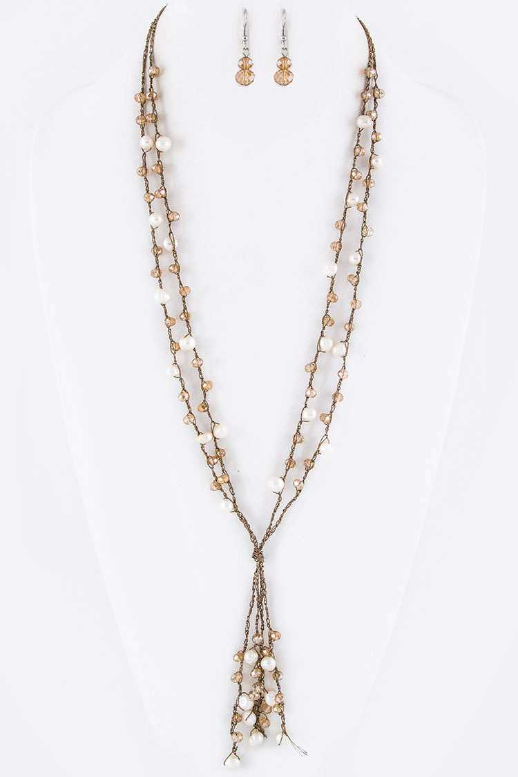 Pearl & Bead Layer Necklace Set