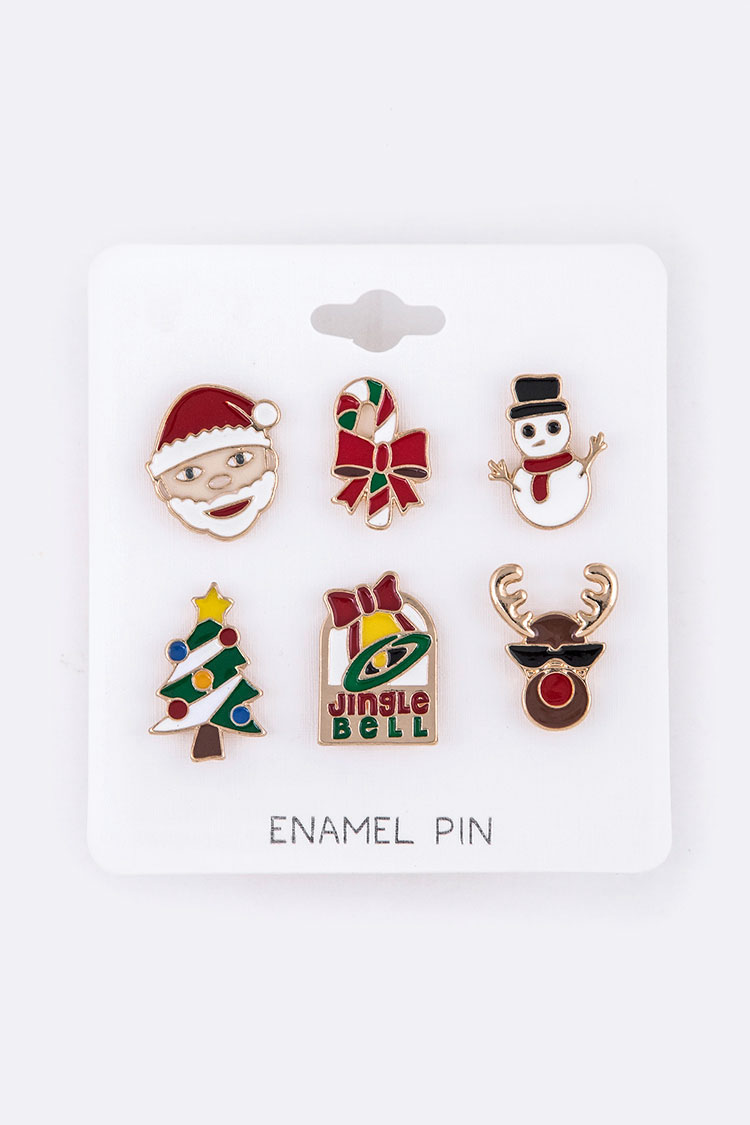 6 PCS Christmas Theme Iconic Pin Set