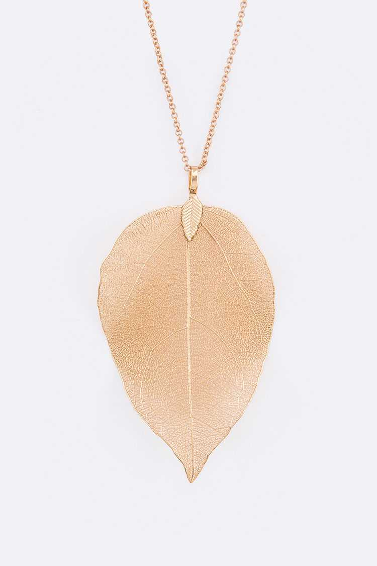 Gold Dip Leaf Pendant Necklace Set