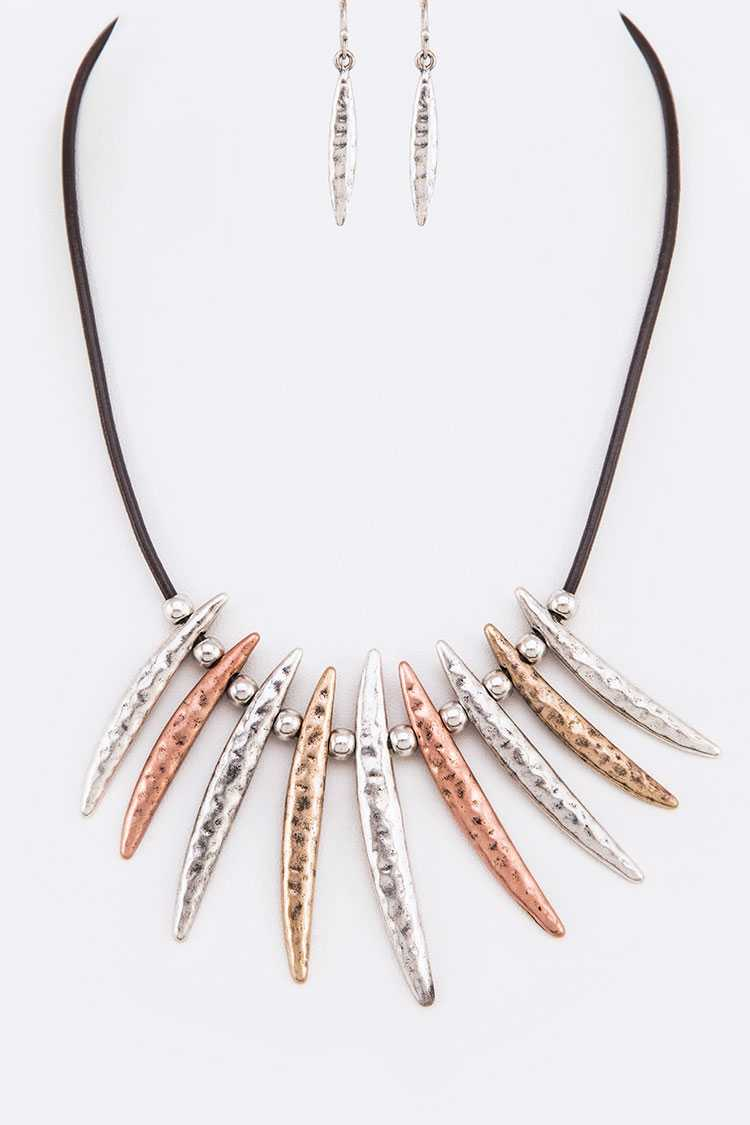 Mix Tone Hammered Bar Statement Necklace Set
