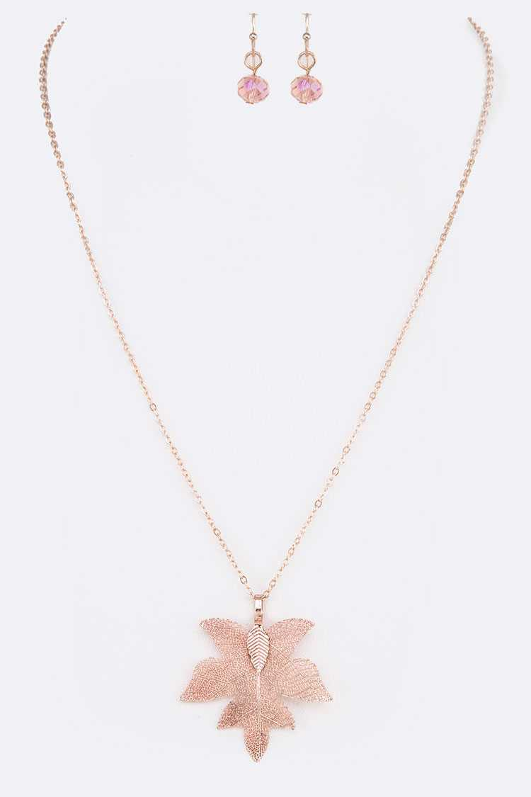 Rosegold Dip Petite Leaf Pendant Necklace Set