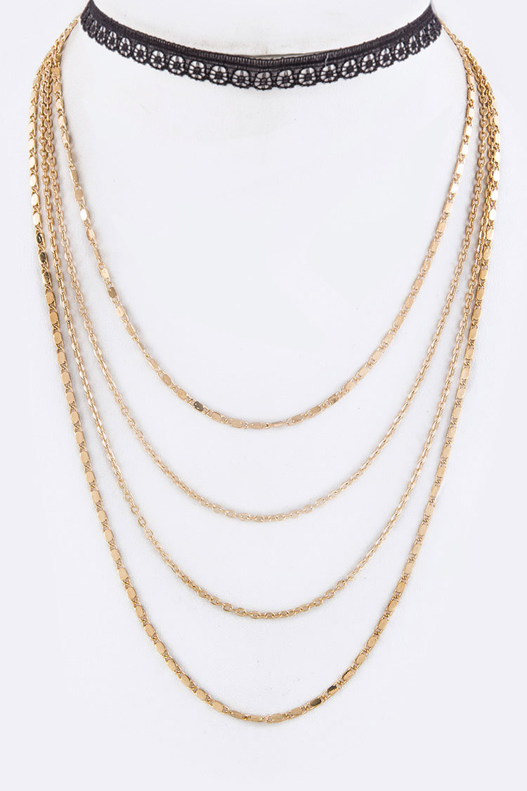 2 In 1 Layered Necklace Set