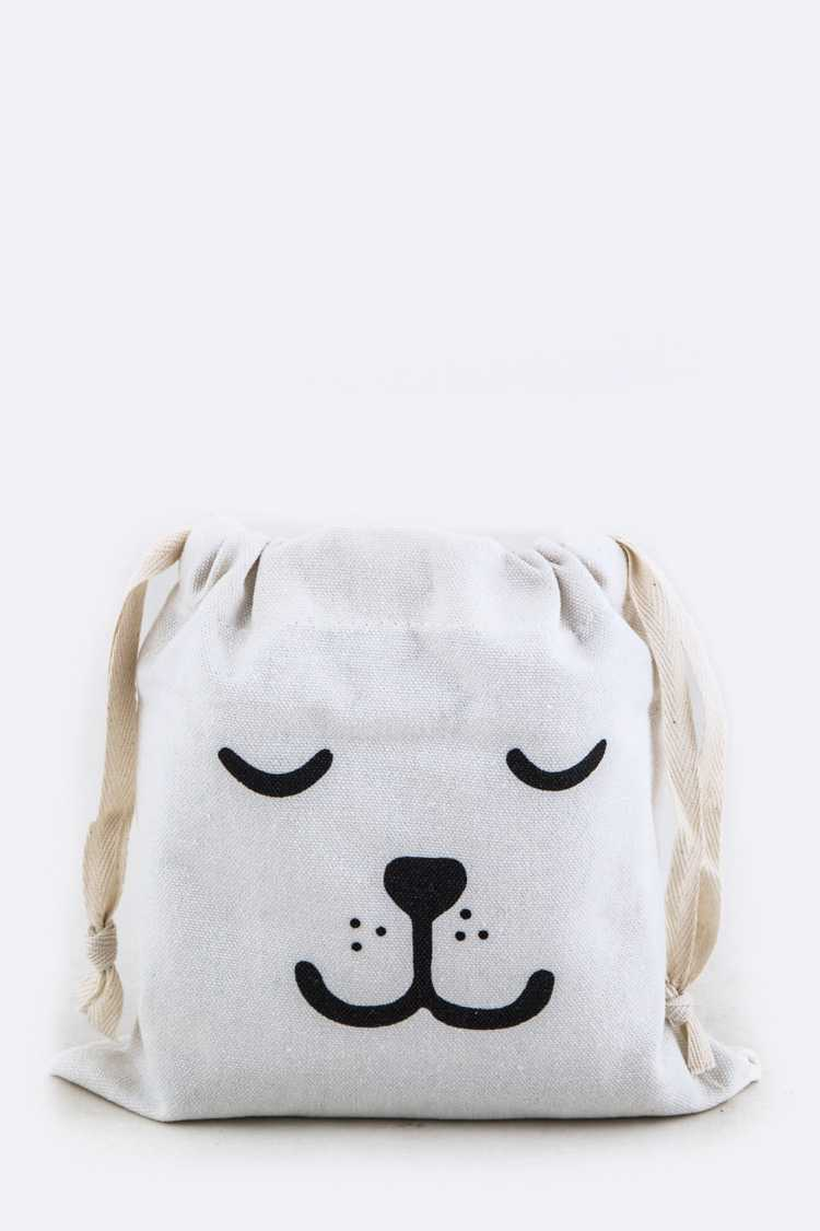 Comic Dog Face Drawstring Pouch