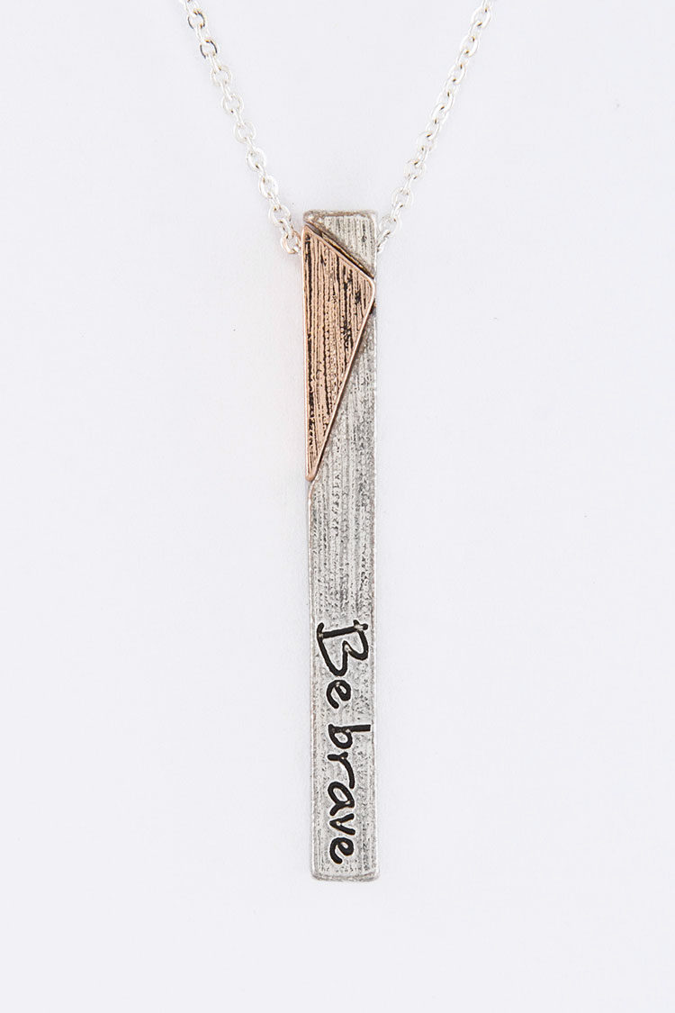 Be Brave Metal Bar Pendant Necklace Set