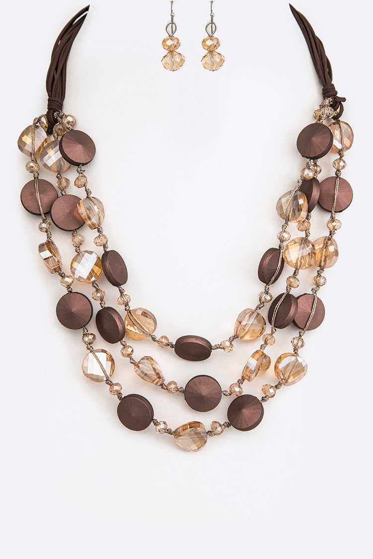 Mix Media Crystal Hand Knot Layer Necklace Set