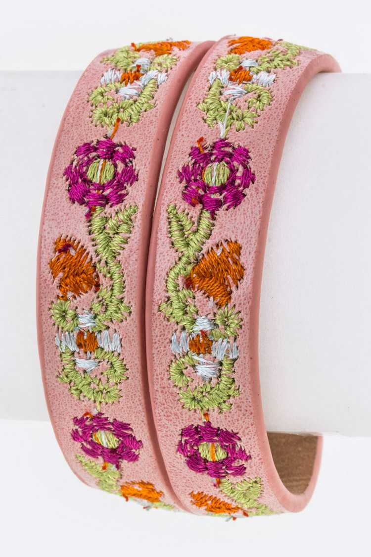 Flower Enbroidery Wrapped Leather Bracelet