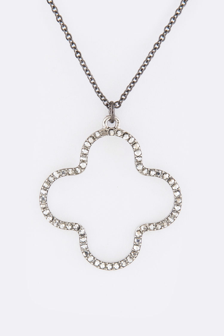Pave Crystals Clover Hoop Pendant Necklace Set