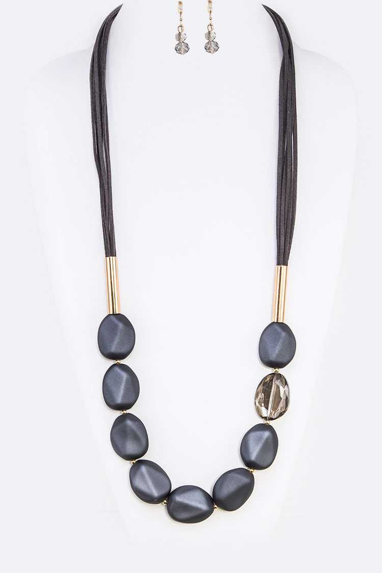 Rubber Coated Crystal Long Necklace Set
