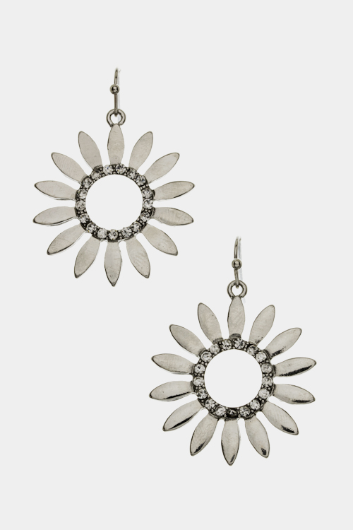 Round Petal Crystal Earrings