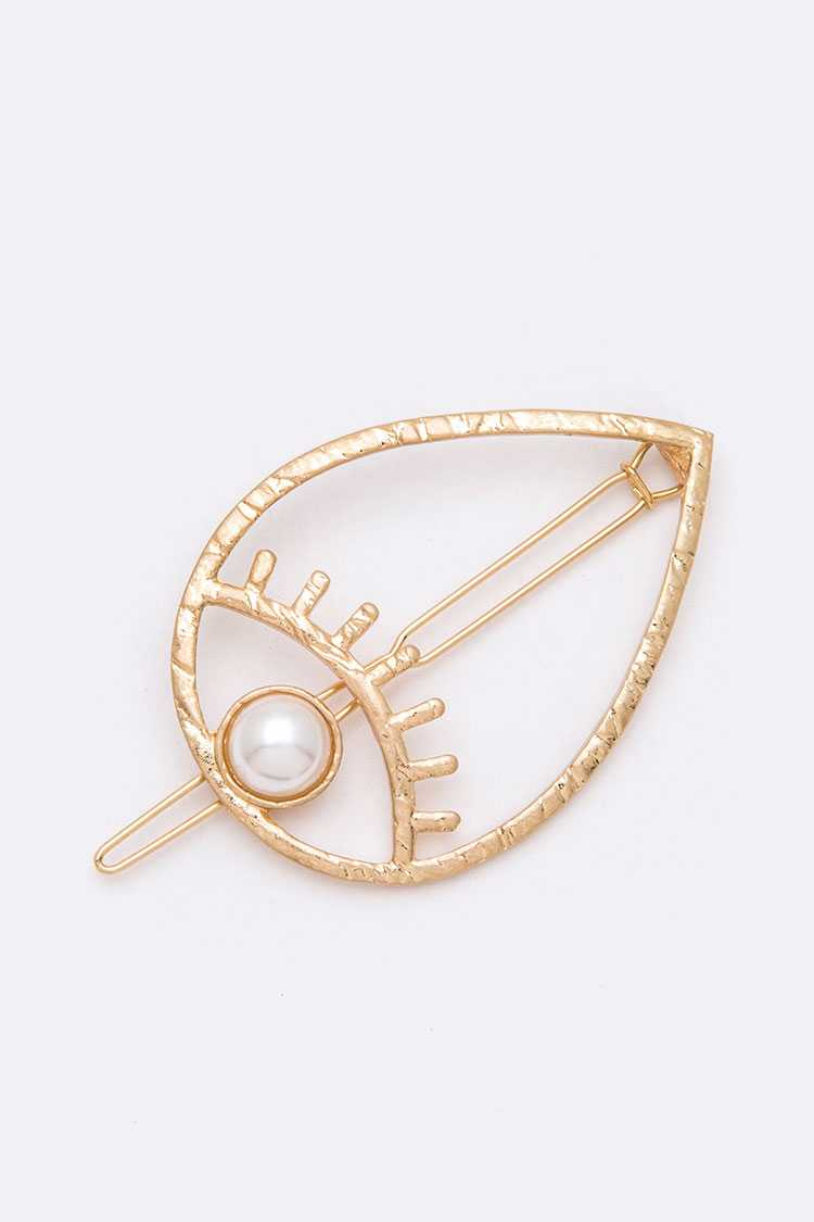 Iconic Pearl Accent Eye Barrette Hair Clip