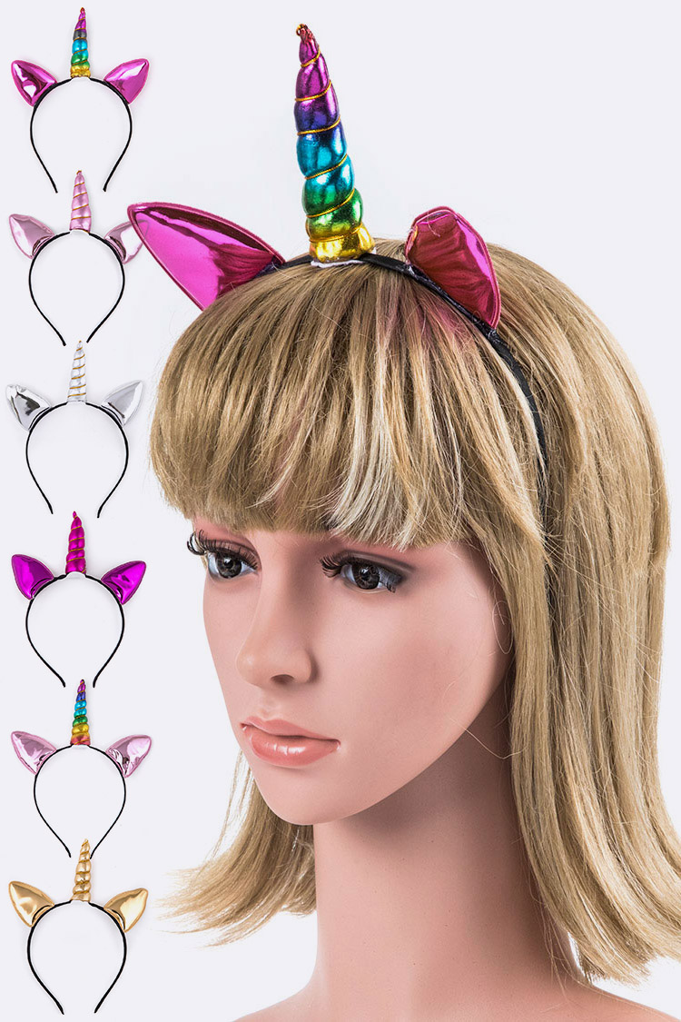 Metallic Unicorn Headband Set