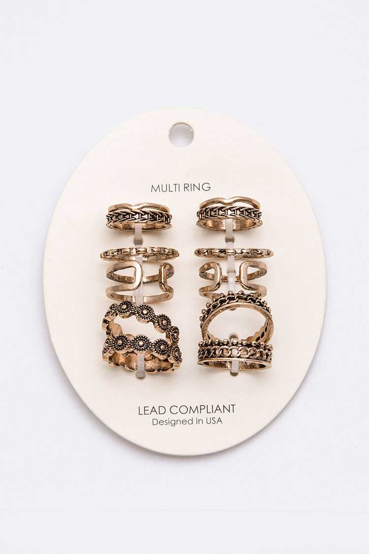12 PC Mix Textured Vintage Inspired Ring Set