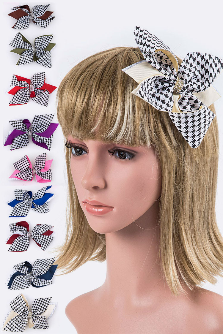 Houndstooth Extra Large Bow Hair Clip