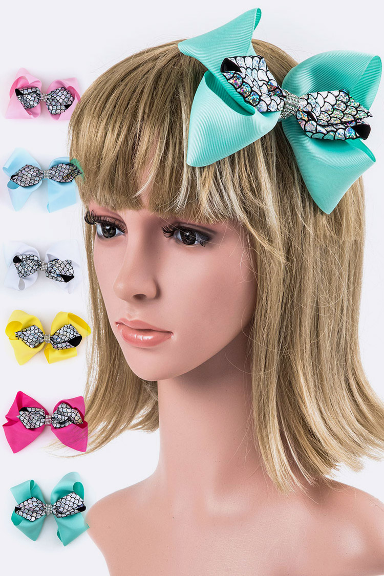 Mix Print Large Bow Hair Clip
