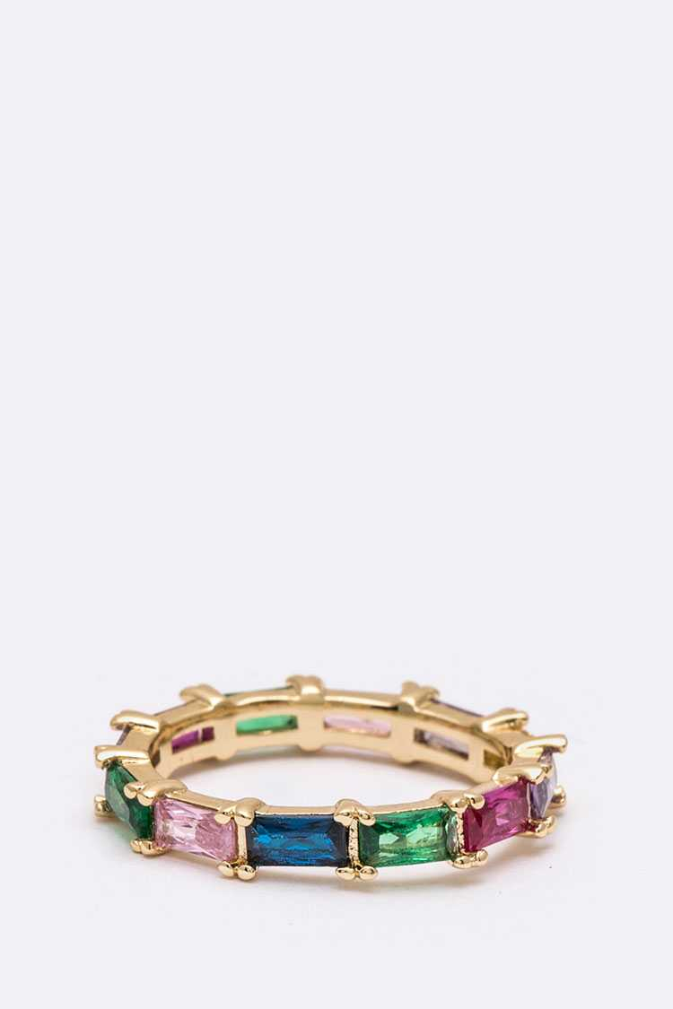 Baguette Crystal Mix Color Size Ring