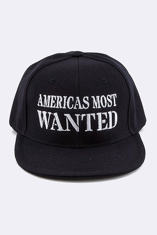 AMERICAS MOST WANTED Embroidered Snap Back Cap