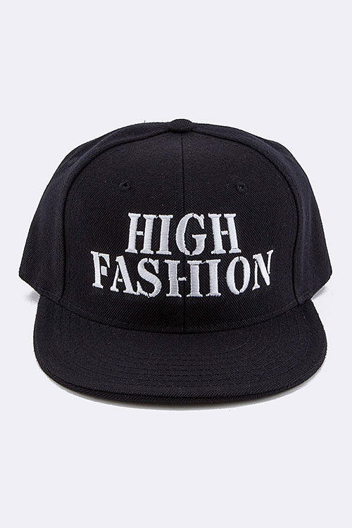 HIGH FASHION Embroidered Snap Back Cap