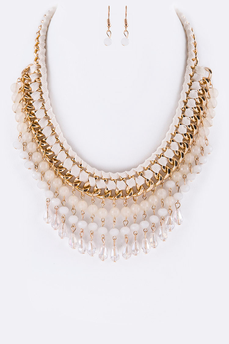 Crystal Drop Braided Chain Iconic Necklace Set