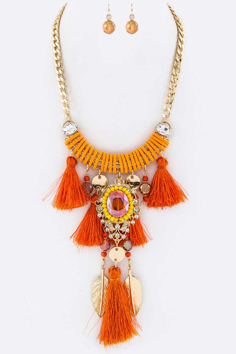 Crystal Tassel Boho Statement Necklace Set