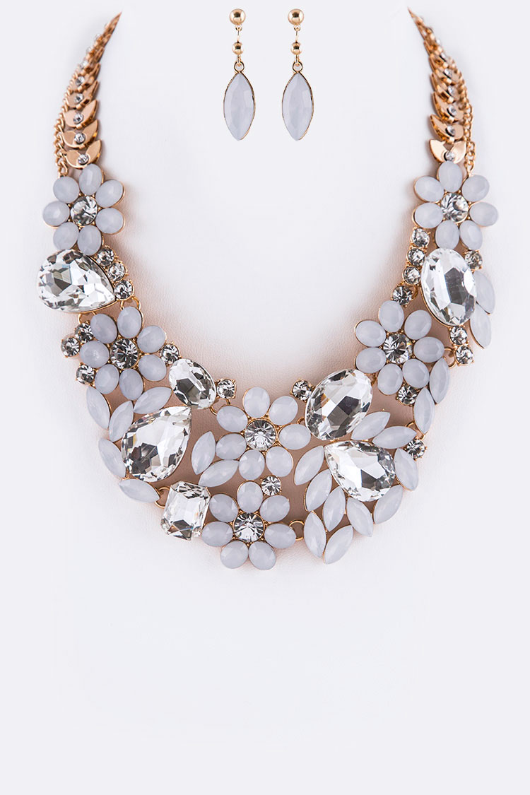 Mix Stone Floral Statement Necklace Set