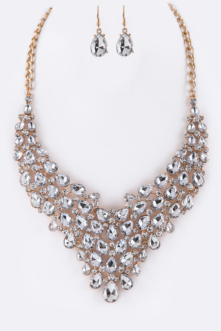 Acrylic Stone Statement Necklace Set