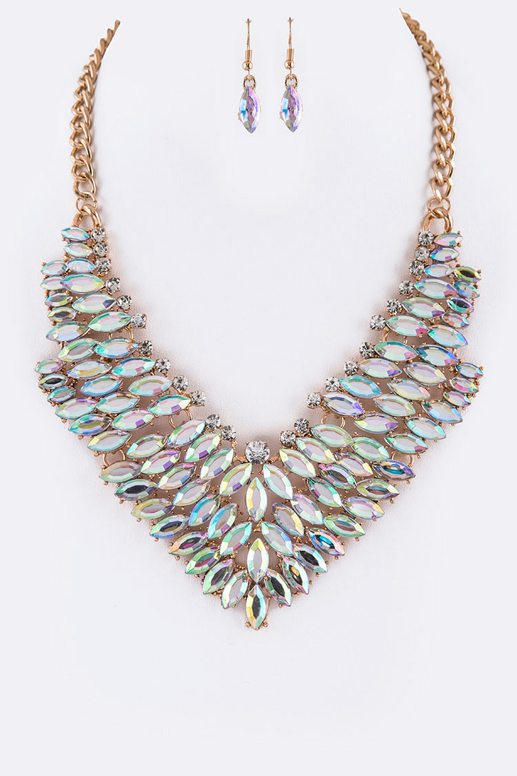 Acrylic Marquise Stone Statement Necklace Set