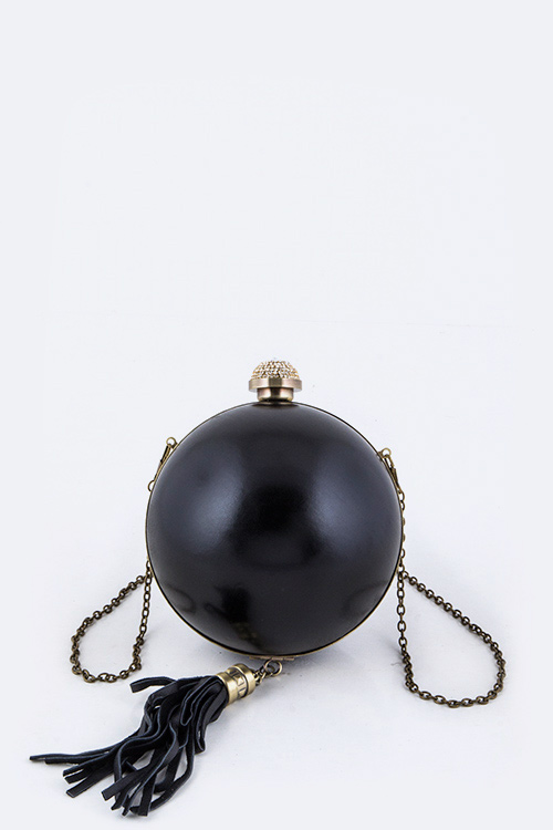 High Fashion Crystal Push Lock Leather Tassel Polished Ball Clut